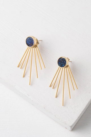 Caroline Navy Druzy Stud and Fringe Earrings
