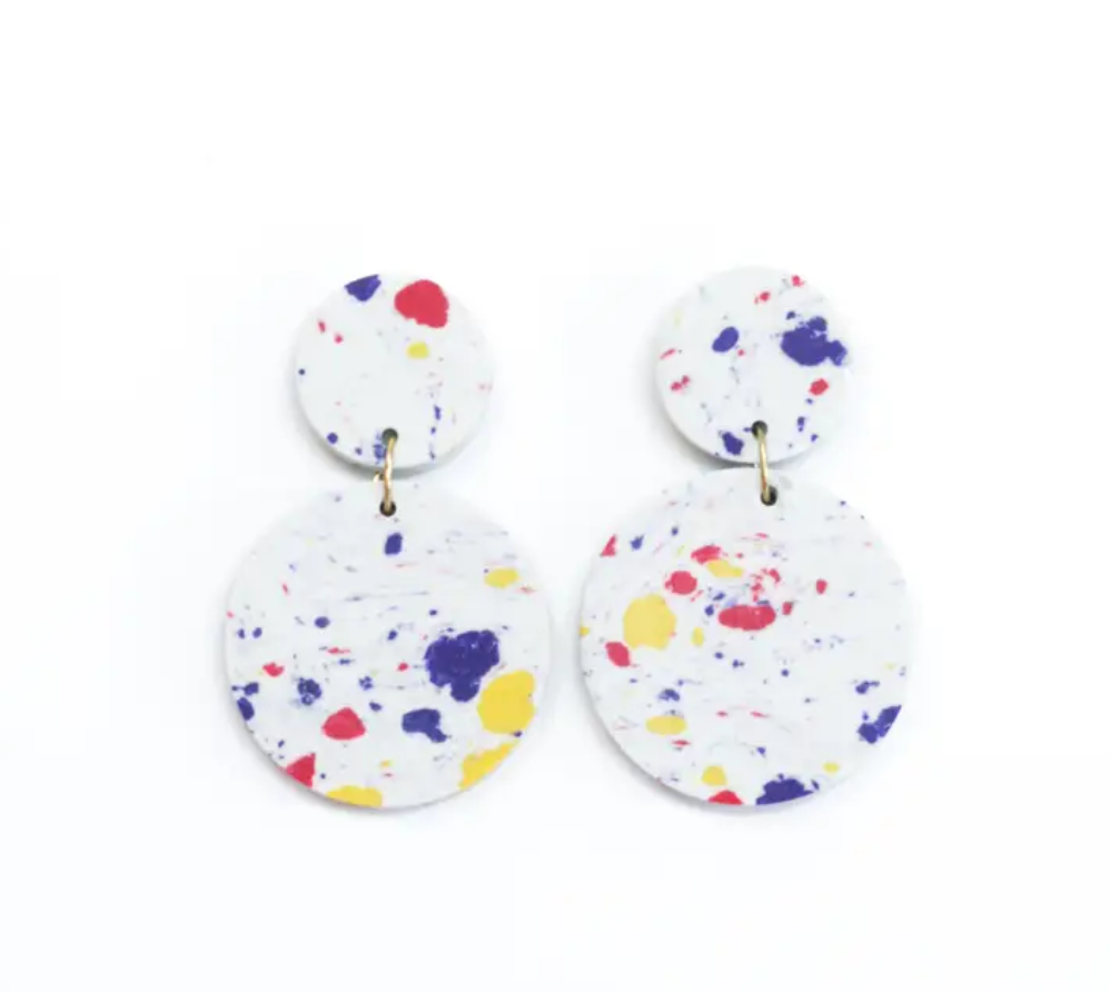 Confetti Clay Earrings - White