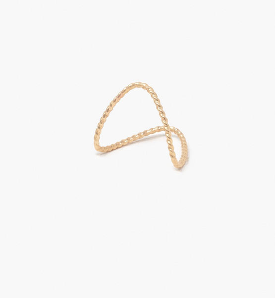 Twisted Double V Ring -- Gold