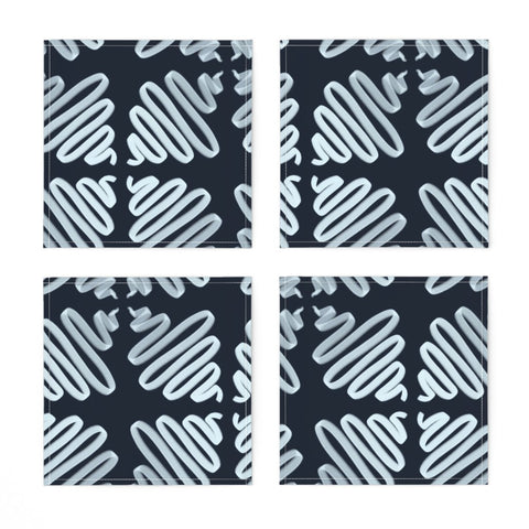 COCKTAIL NAPKINS NAVY WIGGLES -- Spoonflower x The Flourish Market Limited Edition Home Collection