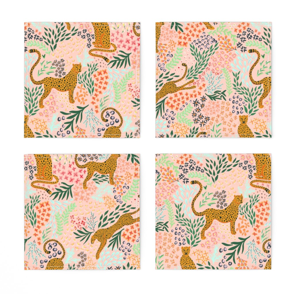 COCKTAIL NAPKINS LIGHT PINK CHEETAH -- Spoonflower x The Flourish Market Limited Edition Home Collection