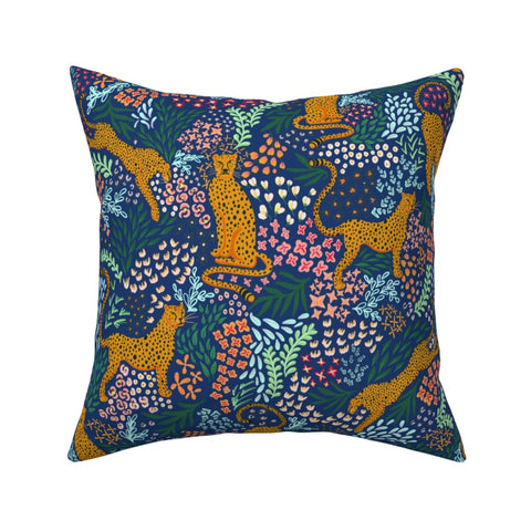 PILLOW COVER BLUE CHEETAH -- Spoonflower x The Flourish Market Limited Edition Home Collection