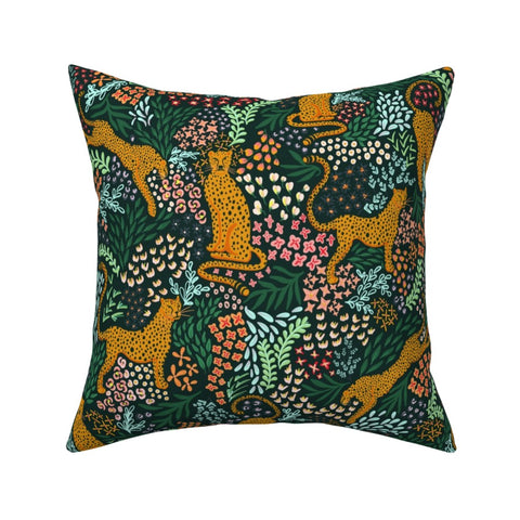 PILLOW COVER EMERALD GREEN CHEETAH -- Spoonflower x The Flourish Market Limited Edition Home Collection