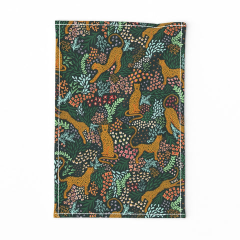 TEA TOWEL EMERALD GREEN CHEETAH -- Spoonflower x The Flourish Market Limited Edition Home Collection