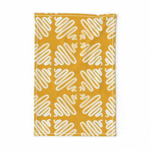 TEA TOWEL GOLD WIGGLES -- Spoonflower x The Flourish Market Limited Edition Home Collection