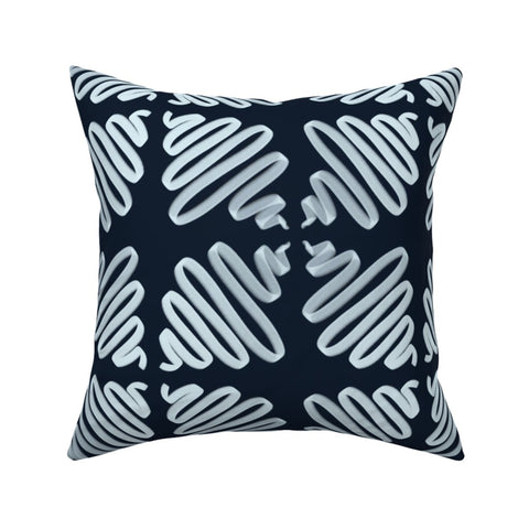 PILLOW COVER NAVY WIGGLES -- Spoonflower x The Flourish Market Limited Edition Home Collection