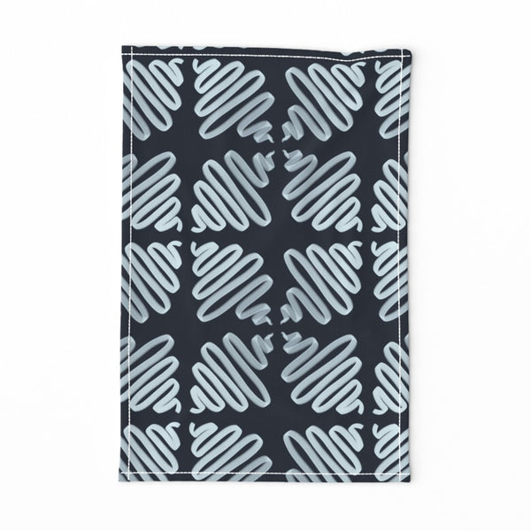 TEA TOWEL NAVY WIGGLES -- Spoonflower x The Flourish Market Limited Edition Home Collection