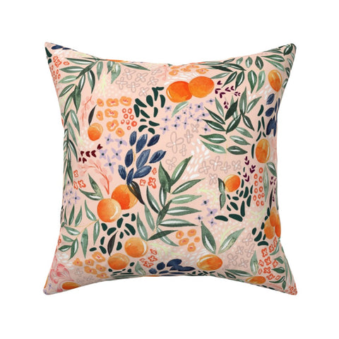 PILLOW COVER LIGHT PINK FRUIT -- Spoonflower x The Flourish Market Limited Edition Home Collection