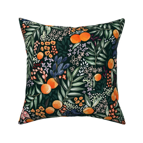 PILLOW COVER NAVY FRUIT -- Spoonflower x The Flourish Market Limited Edition Home Collection