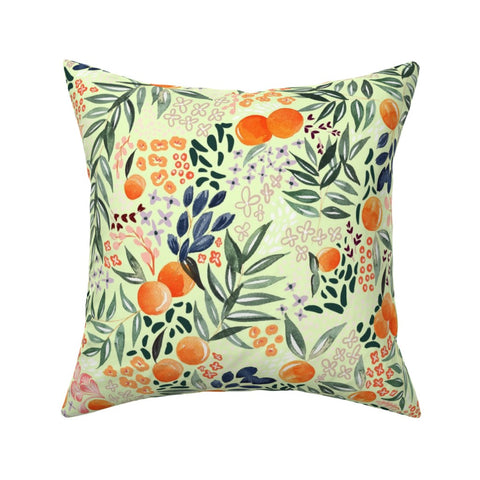 PILLOW COVER LIGHT GREEN FRUIT -- Spoonflower x The Flourish Market Limited Edition Home Collection