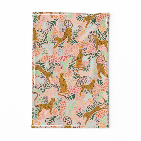 TEA TOWEL LIGHT PINK CHEETAH -- Spoonflower x The Flourish Market Limited Edition Home Collection