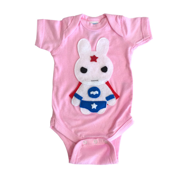Super Hero Onesie -Team Super Animals - Star Bunny Infant Bodysuit - Baby Shower Gift