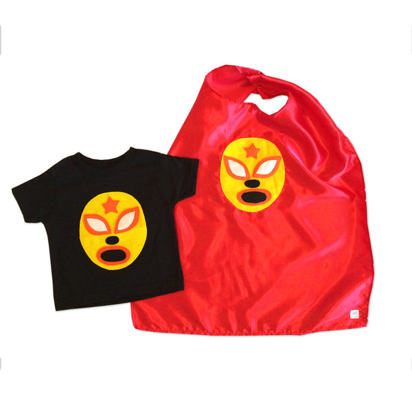 Kid's Cape and Shirt- Luchador Amarillo - Yellow Mexican Wrestler Toddler T-Shirt & Red Cape Combo