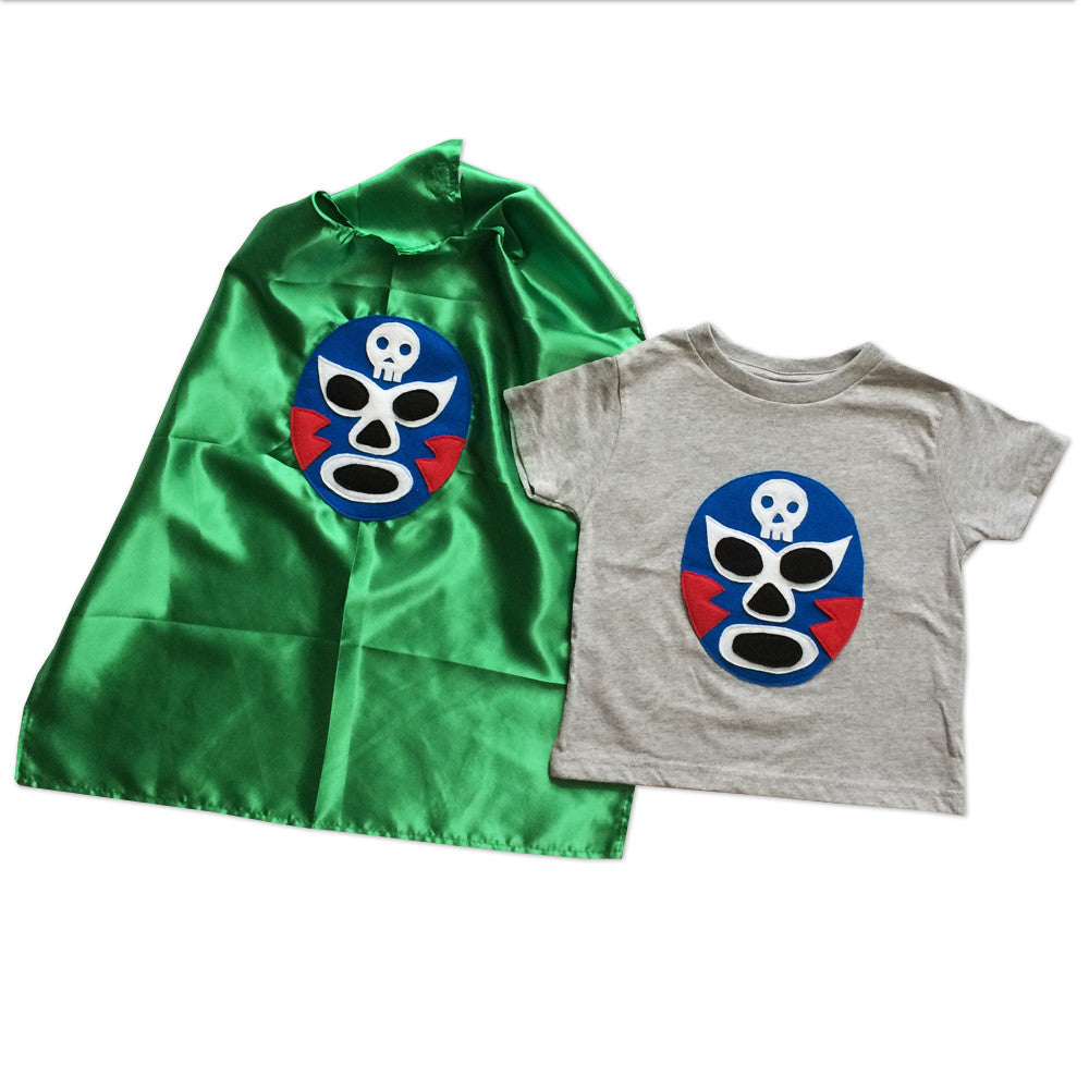 Kid's Cape and Shirt-Luchador Azul - Blue Mexican Wrestler Toddler T-Shirt & Green Cape Combo