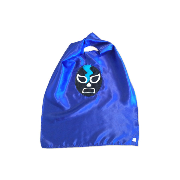 Luchador Negro - Black Mexican Wrestler Cape - Blue