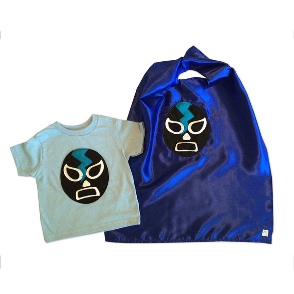 Kid's Cape and Shirt- Luchador Negro - Black Mexican Wrestler Toddler T-Shirt & Blue Cape Combo
