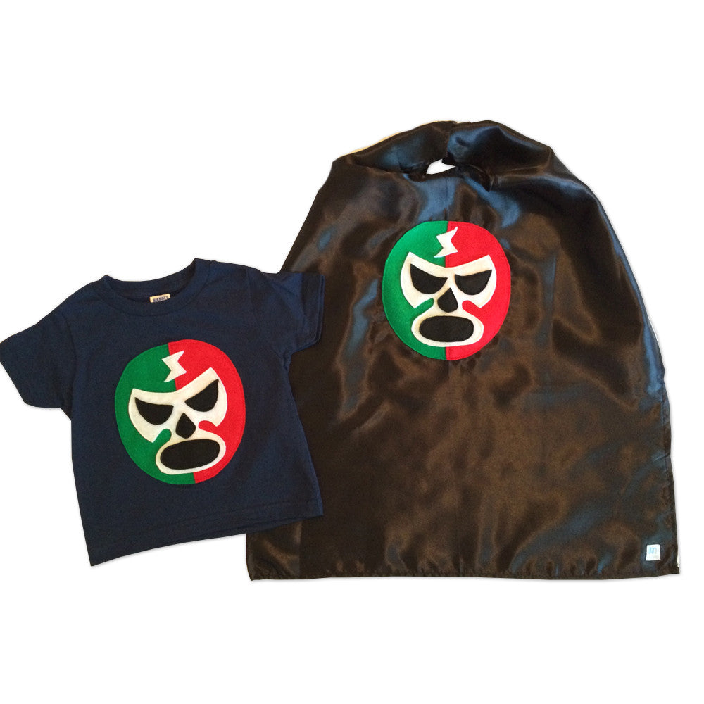 9afc4e28ee630 Kid's Cape and Shirt- Luchador Rojo + Verde - Red + Green Mexican Wrestler  Combo