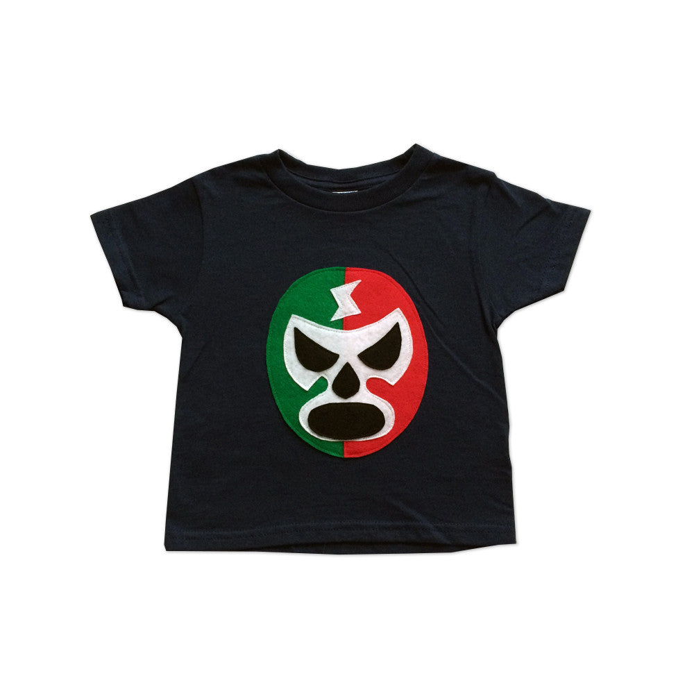 Kids T-shirt - Luchador Rojo + Verde - Lucha Libre - Toddler T-Shirt - Navy/Red/Green