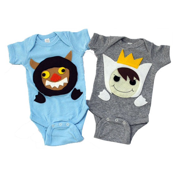 A Wild Boy & A Wild Monster Infant Bodysuits Combo