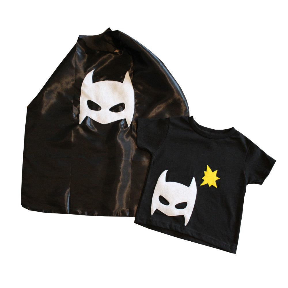 Pow - Superhero Tee & Cape Combo - Black