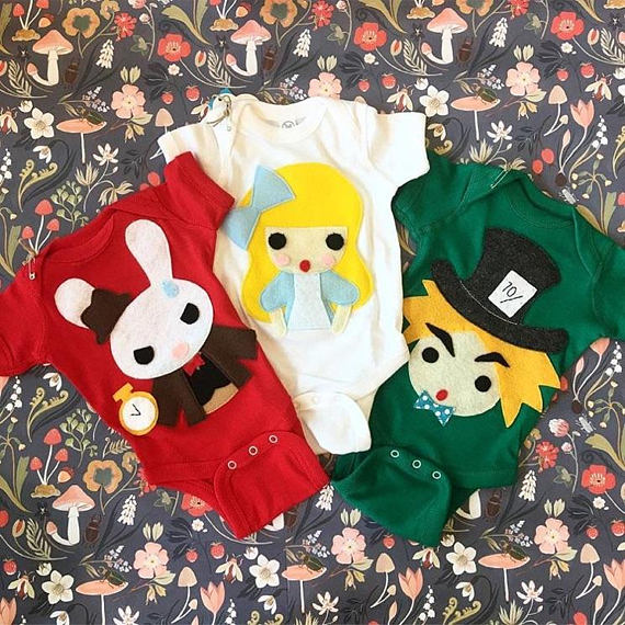 Alice's Adventure in Wonderland - 3 Baby Bodysuit Combo - Alice, White Rabbit, and Hatter