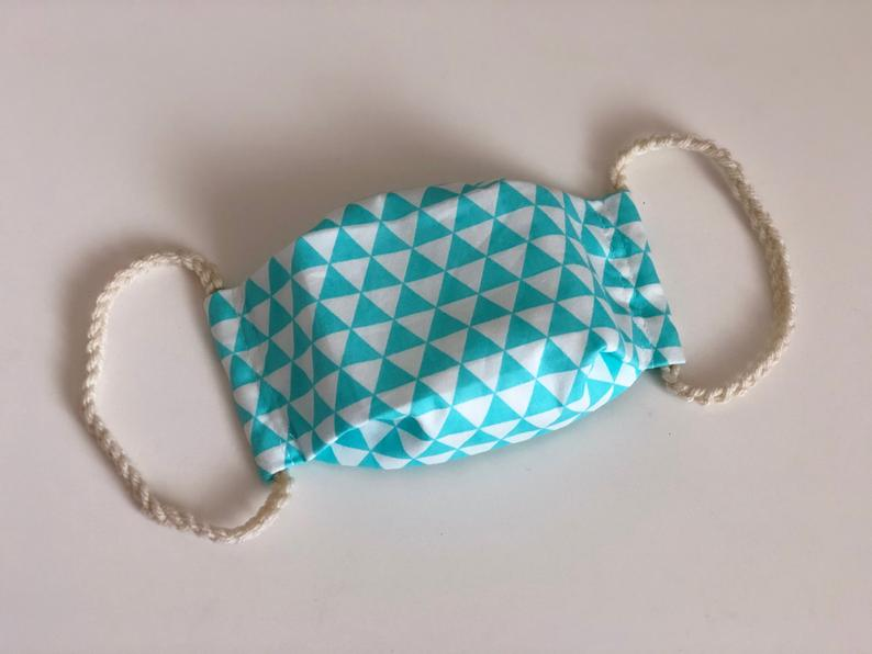 Washable Reusable [Adult Size] Face Mask - Turquoise Triangle Pattern Fabric