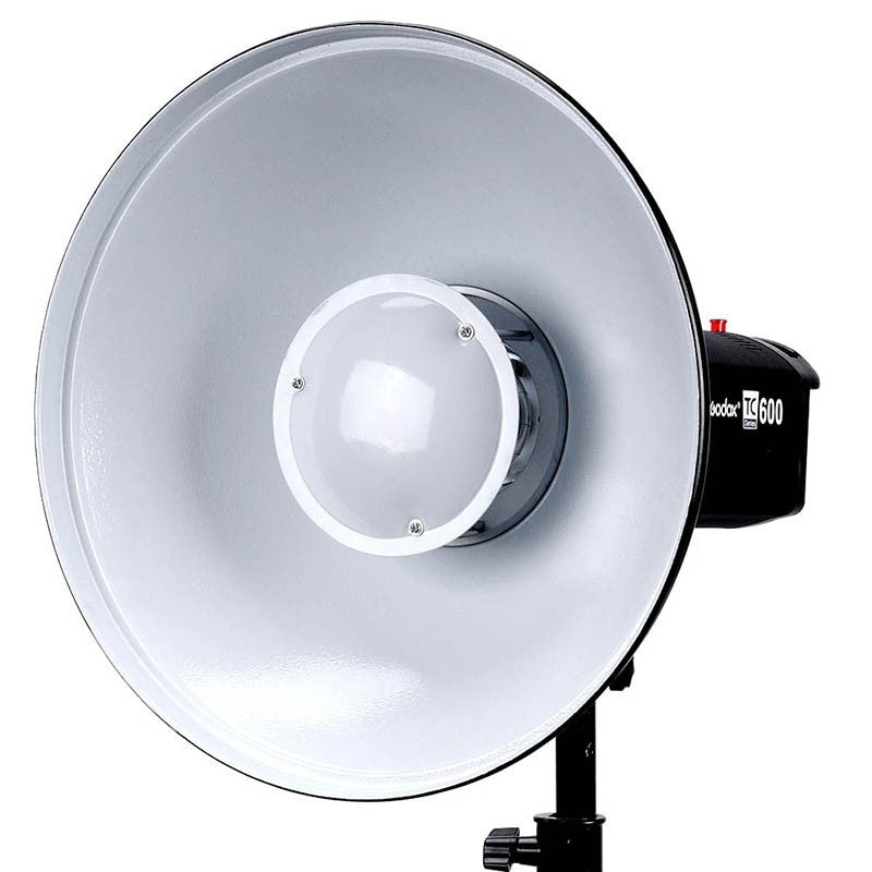 Reflector Beauty Dish Godox BDR-W550 de 55cms con superficie reflectante color blanco - La Bodega del Fotógrafo