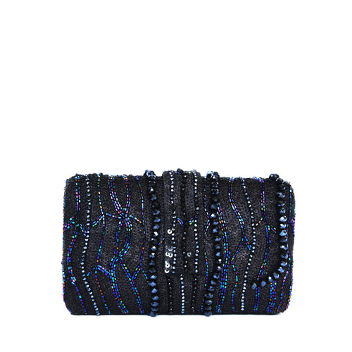 Beautiful black shimmery sequins and beaded hand embroidery in a waterfall pattern make this one oh-so-desirable!  Lush velvet lining and an additional gold metal chain as handle