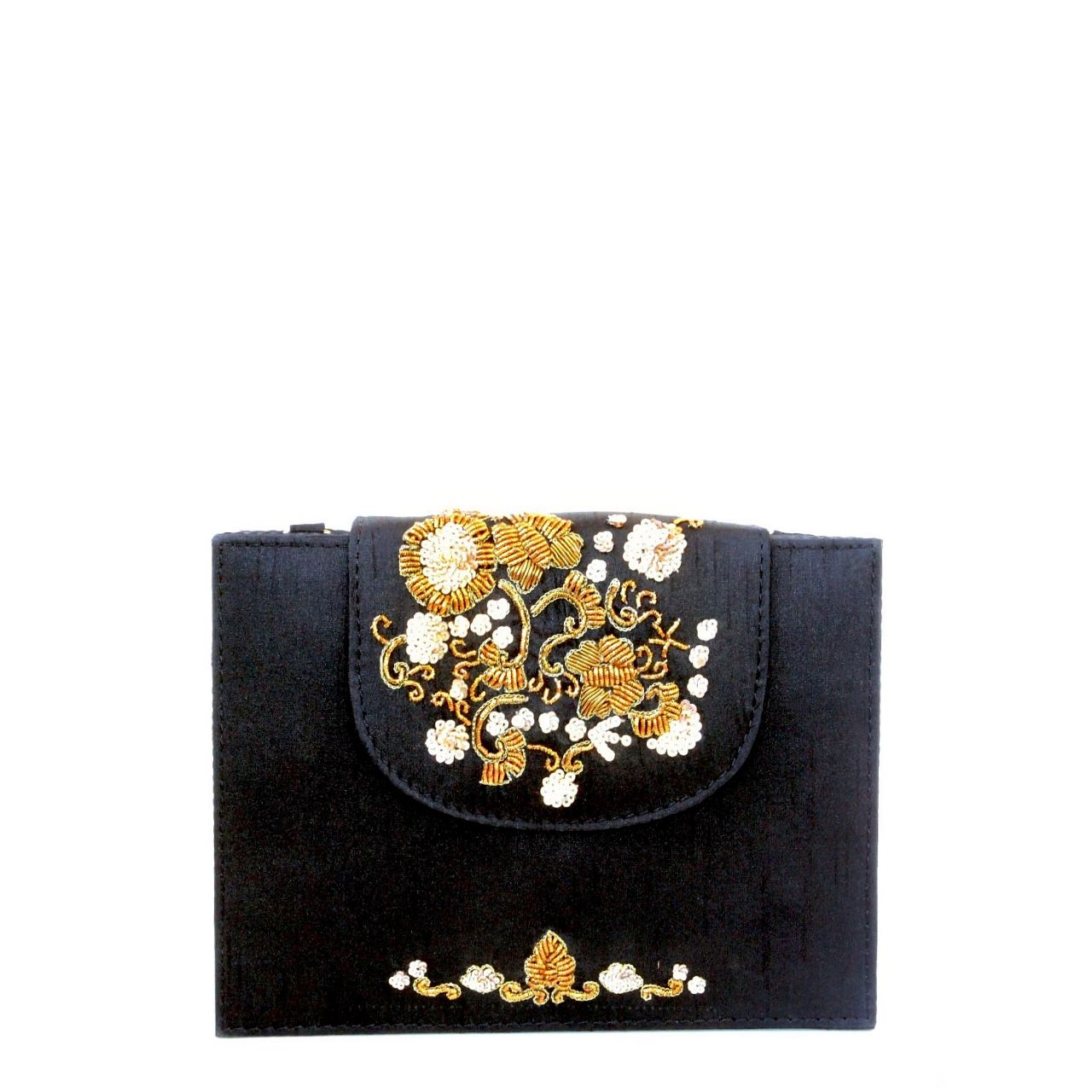 Raw silk fabric with metal and sequin embroidery on flap sides and the bottom edge, lush black velvet interior lining, magnetic closure on flap