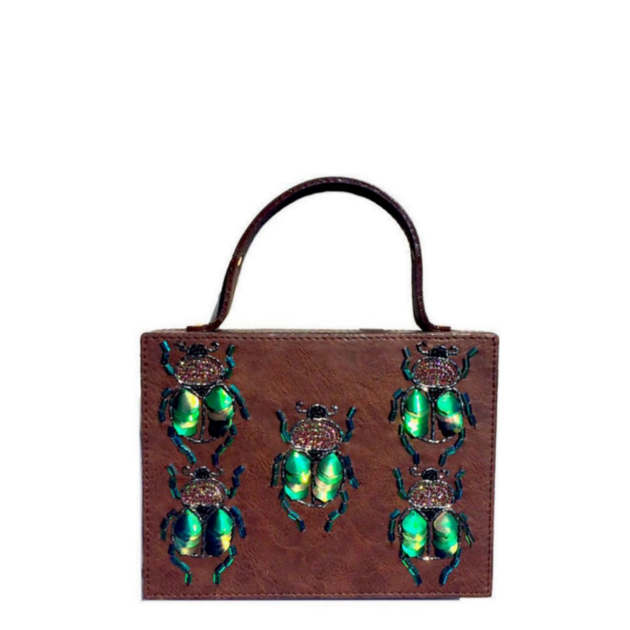This structured beetle briefcase bag is made from faux leather with hand embroidered sequin and bead beetles. It has a faux leather handle and an additional metal chain which can go inside the bag. Can be carried as a cross sling bag too. It has black velvet lining. This bag is one of Simitri's iconic designs. It has been featured in NYLON magazne, Accessories Magazine and on Getty Images