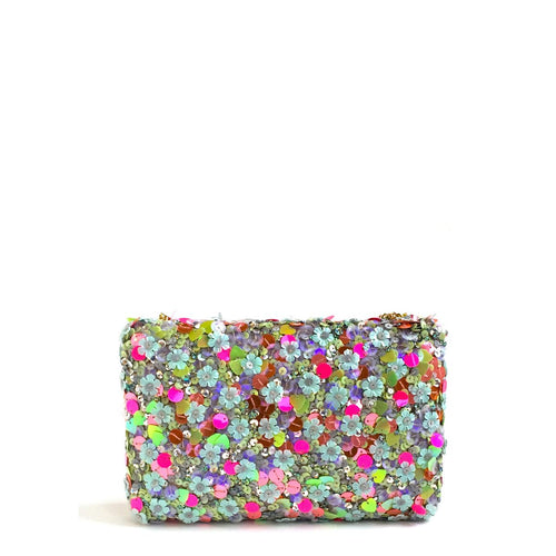 This sequin kitsch clutch is a combination of various different sequins hand embroidered to create a fun party clutch. Black velvet lining and a magnetic closure flap with a metal chain
