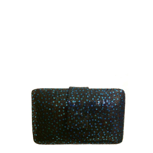 Box clutch with double sided  sequin fabric, lush black cotton interior lining and magnetic closure on flap