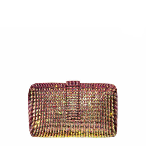 A beautiful crystal studded clutch with a magnetic belt closure. Interior has lush velvet lining and a metal chain, magnetic snap closure