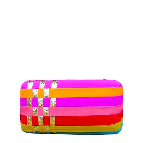 Hard structured box clutch with multi colored georgette fabric layers. Lush black velvet interior lining and magnetic closure on top