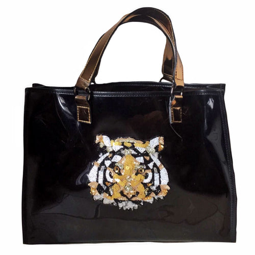 100% PVC tote bag with a hand embroidered sequin tiger in front