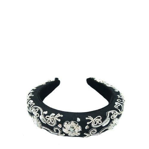 Black Silver Zari Headband