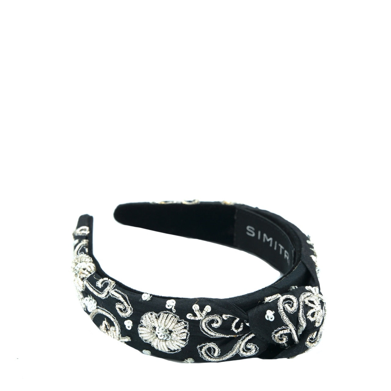 Black Silver Zari Knotted Headband