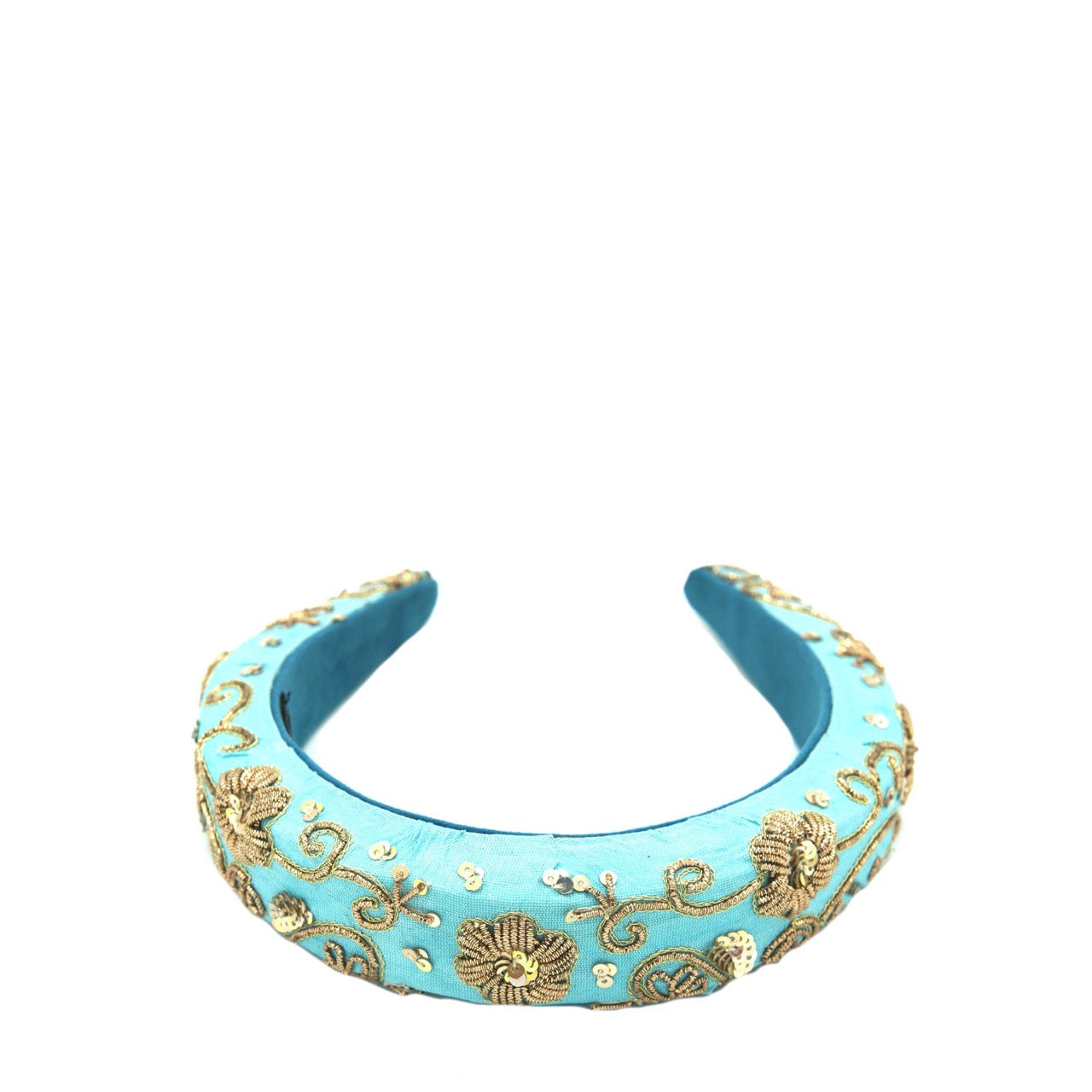 Blue Gold Zari Headband