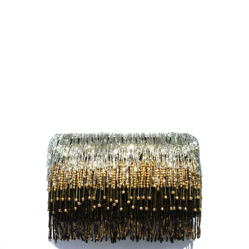 Ombre silver to gold hanging beaded tassels on a black fabric clutc Lush black velvet interior lining Magnetic closure on top