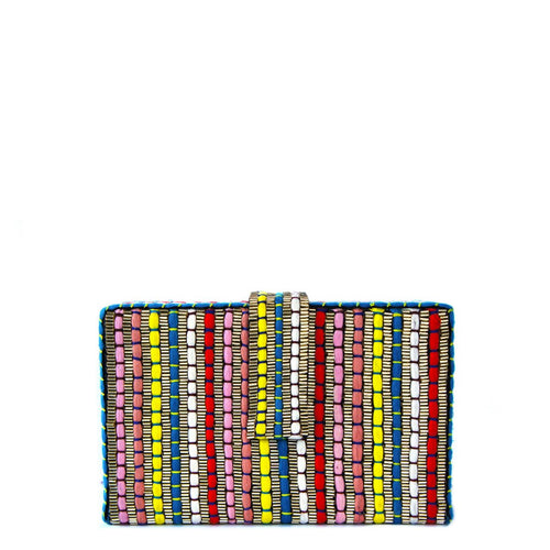 Colorful pattern of thread and silver beaded embroidery Lush black velvet interior lining Metal flap closure Gold metal chain that allows you to cross sling the clutch