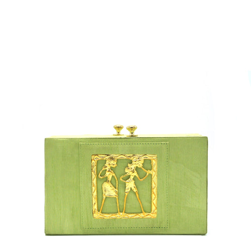 Kiwi Green Tribal Clutch