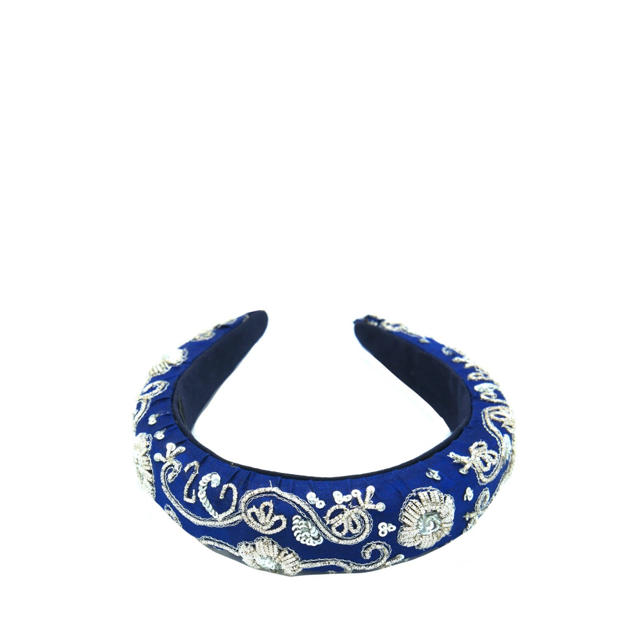 Navy Blue Silver Zari Headband