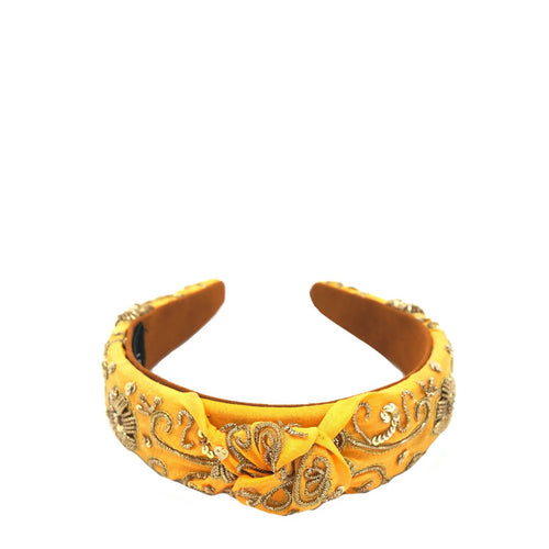 Orange Gold Zari Knotted Headband