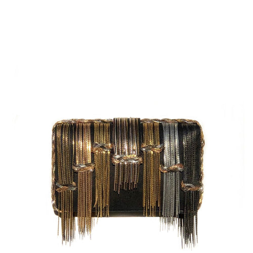 Exquisite black silk fabric clutch with silver, rose gold and gold metal chains hanging as well as braided on the sides of the bag Lush black velvet interior lining Magnetic closure on top