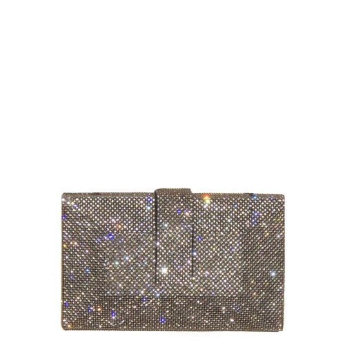 Crystal studded clutch with a magnetic belt close Lush velvet lining and an additional silver metal chain as handle.