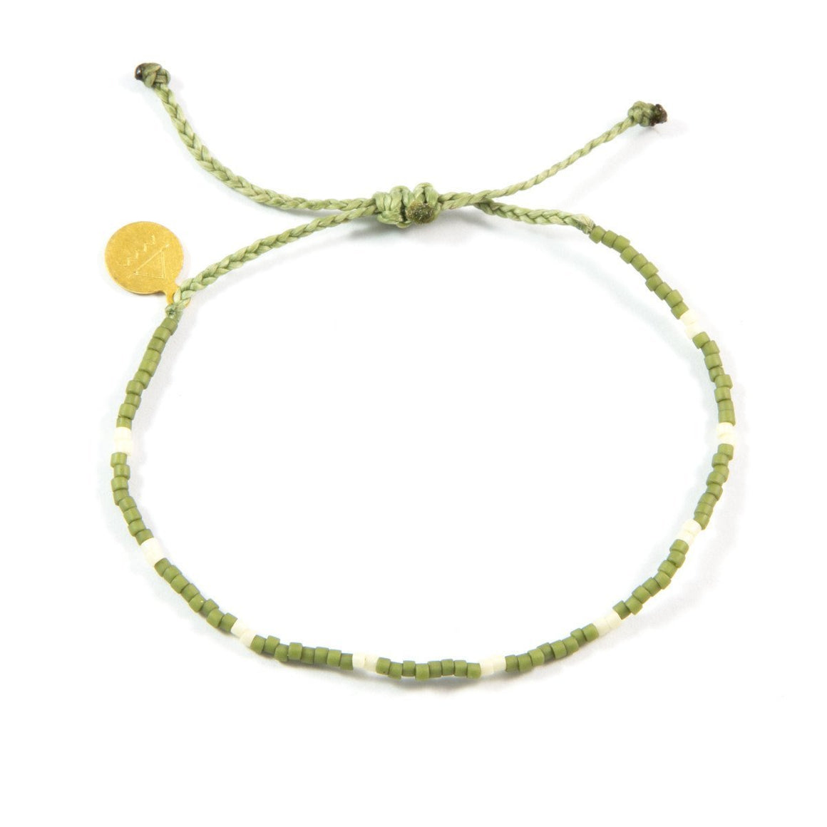 Olive w/ Cream Dot Beaded Bracelet
