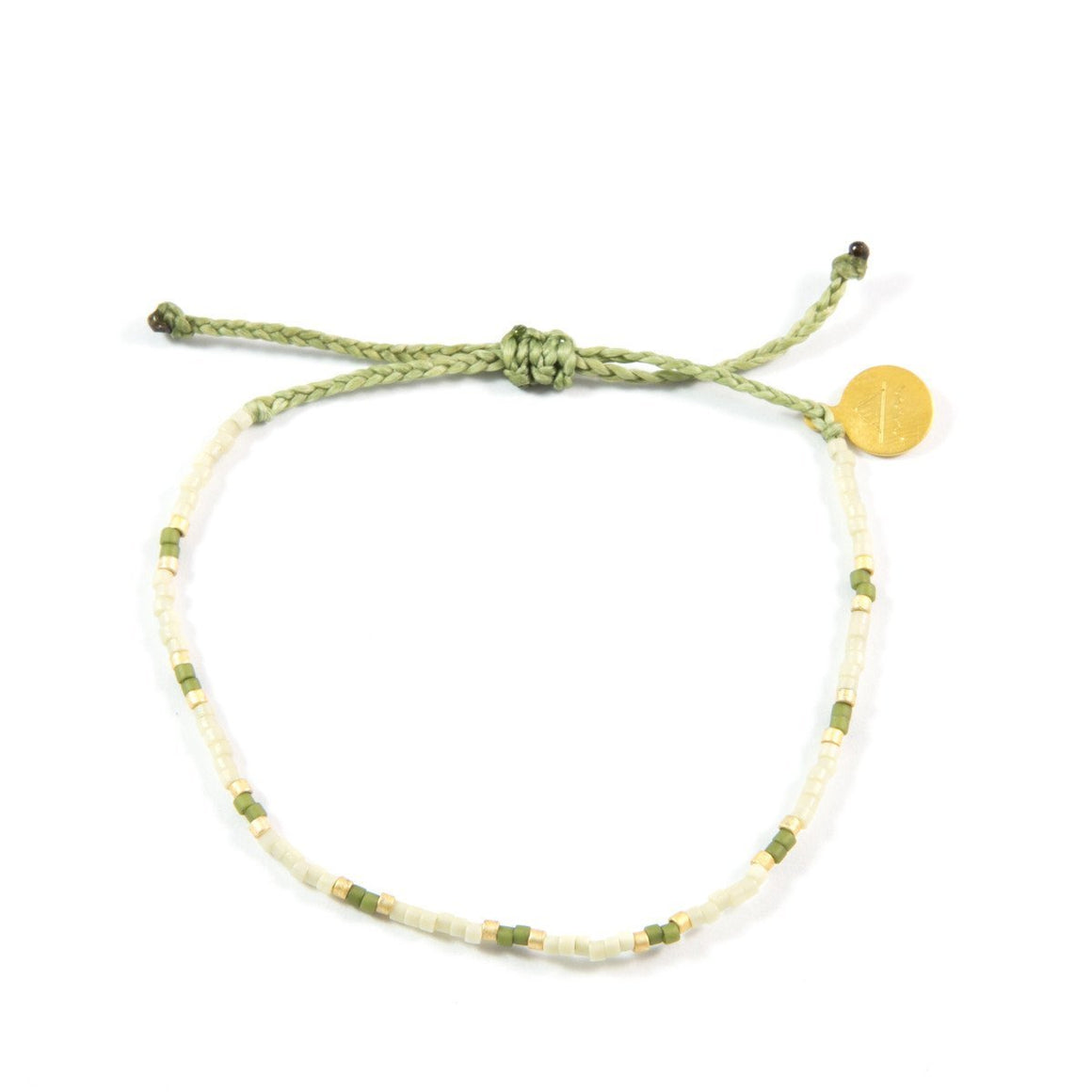 Olive & Gold Two Tone Dot Beaded Bracelet