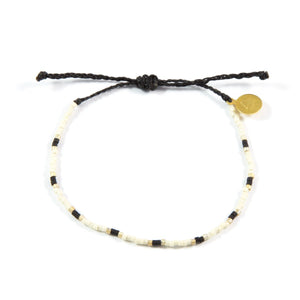 Black & Gold Two Tone Dot Beaded Bracelet