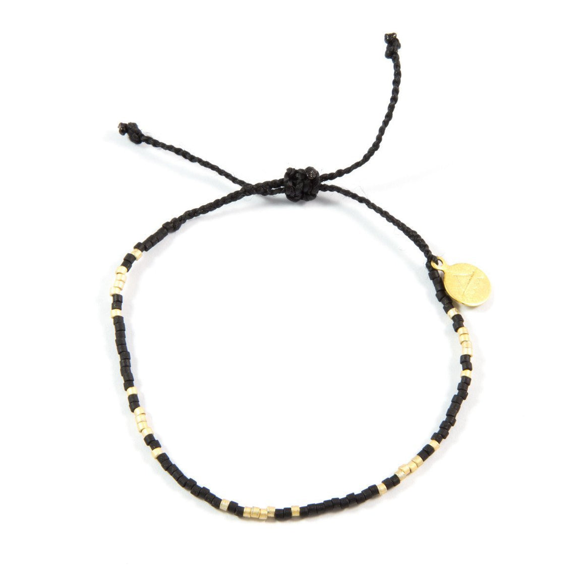 Black & Gold Pattern Beaded Bracelet