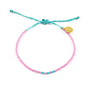 Sea Glass Pink & Teal Pattern Beaded Bracelet